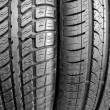Tires on black — Stock Photo