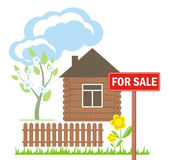 Wooden house with a sign for sale — Stock Vector