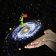 Flower at center of galaxy.Elements of this image furnished by - Foto Stock