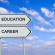 Road sign to education and career — Stock Photo