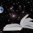 Stock Photo: Planet Earth on book.Elements of this image furnished by NASA
