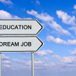 Road sign to  education and dream job - Stock Photo