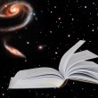 Book on star background.Elements of this image furnished by NASA - Stock Photo