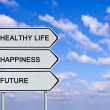 Stock Photo: Road sign to healthy life, happiness, future