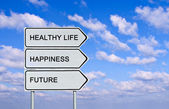 Sağlıklı hayat, mutluluk, gelecek için yol levhası — Stok fotoğraf