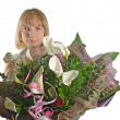 Stock Photo: Young woman with bouquet