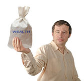Bag with wealth — Stock Photo