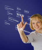 Businesswoman pressing business type of modern buttons with virtual background — Stock Photo