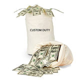 Bag with custom duty — Stock Photo