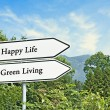 Stock Photo: Road signs to Happy life and green living