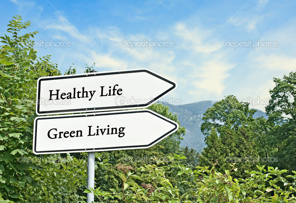 Road signs to healthy life and green living — Stock Photo #9626866