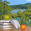 Stock Photo: Books with apples