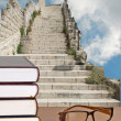 Stock Photo: Books and stairs