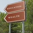 Stock Photo: Road sign to eduacation and wealth