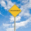 Stock Photo: Road sign to changes