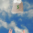 Bag with money falling to hand — Stockfoto