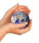 Hand with planet earth — Stock Photo