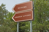 Road signs to future and green living — ストック写真