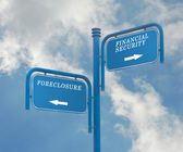 Road signs financial security and foreclosure — Stock Photo