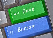 Snabbknapp för spara och låna — Stockfoto