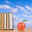Red apple and books — Stock Photo #9704406