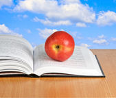 Roter apfel auf offenes buch — Stockfoto