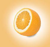 Orange section isolated on yellow background — Stock Photo