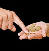 Counting coins — Stock Photo