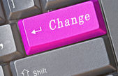 Keyboard with key for change — Stok fotoğraf