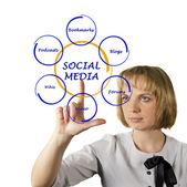 Diagram of social media — Stock Photo