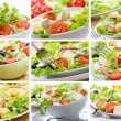 Collage with salad - Stockfoto