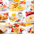 Breakfast collage — Stock fotografie