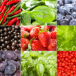 Collage with different fruits, berries and vegetables — Stock Photo