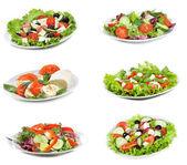 Instellen met verschillende salades — Stockfoto
