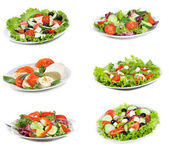 Set with different salads — Stock Photo