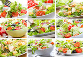 Collage mit salat — Stockfoto