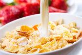 Breakfast with corn flakes — Stock Photo
