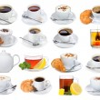Set with different cups of coffee and tea — Stock Photo