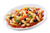 Pasta with meat and vegetables — Stock fotografie