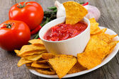 Bowl of salsa with tortilla chips — Stock Photo