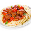 Pasta with meatballs and tomato sauce — Stock Photo