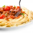 Stock Photo: Pastwith meatballs and tomato sauce