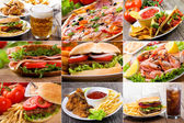 Collage of fast food — Photo