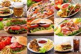 Collage von fast food — Stockfoto