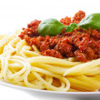 Stock Photo: Pastwith meat sauce on white background