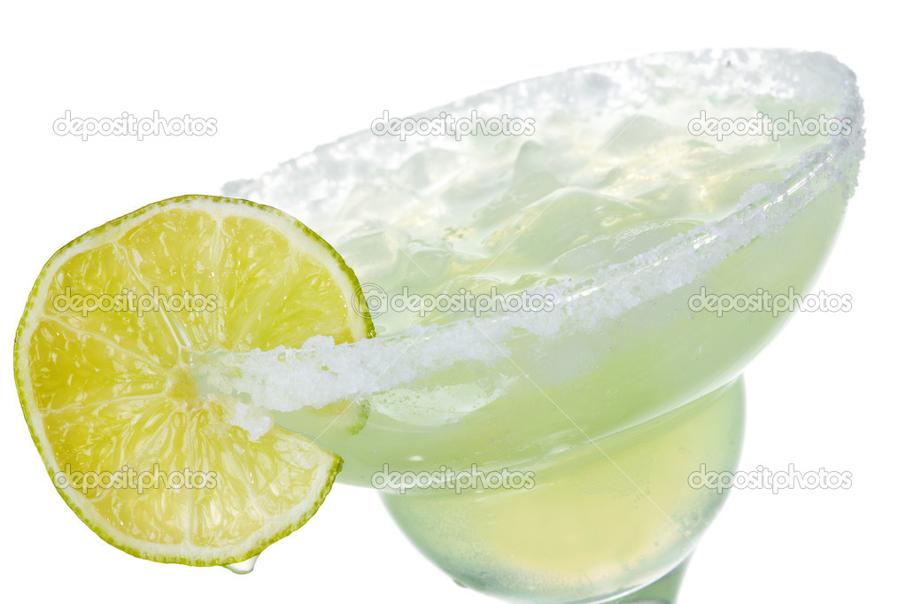 Alcohol margarita cocktail with lime on white background  Stock Photo #9577212