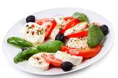 Salad with mozzarella — Stock Photo