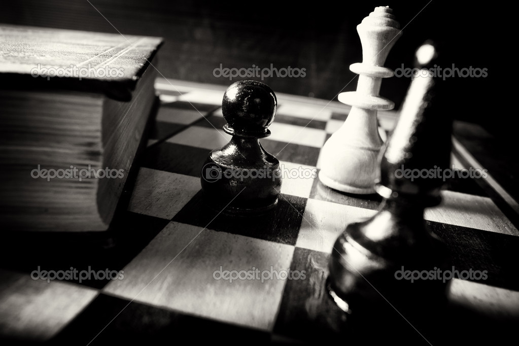 Abstract black and white chess; teach your move vintage conceptual — Stock Photo #10487240