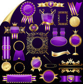 Set of gold design elements,vector — Stock Vector