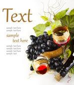 Copo de vinho com uvas — Foto Stock